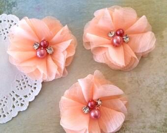 "Peach Mini Chiffon Flowers with rhinestones & pearl centers - Small  2"" Whitney shabby chiffon layered flowers wholesale flowers"