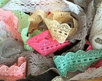 "Lace Elastic - approx. 10 Yards Grab Bag 50% off Stretch Lace vintage Elastic 1"" - 3"" widths - baby headband elastic wedding garter lingerie"