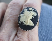Cameo Ring, Garden Fairy Ring - White on Black - Silver Plated bezel ring - adjustable ring, silver ring, cabochon ring, fairy jewelry