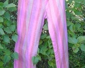 Happy hippy striped pink pants unisex trousers shorts cotton cheesecloth loose fit, elasticated waist wide leg choice of 3 lengths
