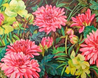 """Dahlias, Large Framed ORIGINAL Painting 24X12"""", Garden Flowers, Lemon Yellow Flowers, Pink Flowers, Mothers Day, Special Gift, Wood Frame"""