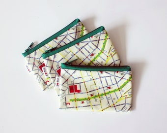 Tel Aviv Map urban Wallet with green zipper, a souvenir from Israel with the streets of Tel Aviv in hebrew zipper coin purse wallet