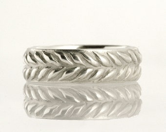 Wedding band, leaf pattern ring, wreath, 14k white gold - Hand In Hand No.6