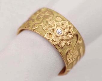 Lotus Flower Ring, Trending Jewelry, Spiritual Ring, Yoga Inspired Jewelry, Lotus Blossom Band, 18k yellow gold, diamonds - Bouquet No.L-10