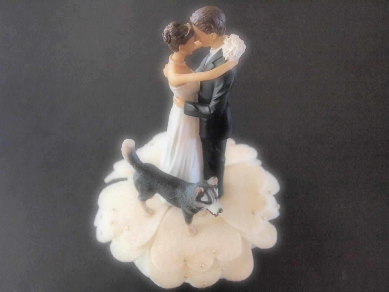 Cake Topper Wedding Ivory Gold Bride and Groom Dog Husky