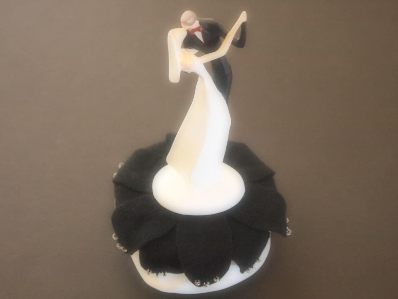 Wedding Cake Topper Black Bride and Groom