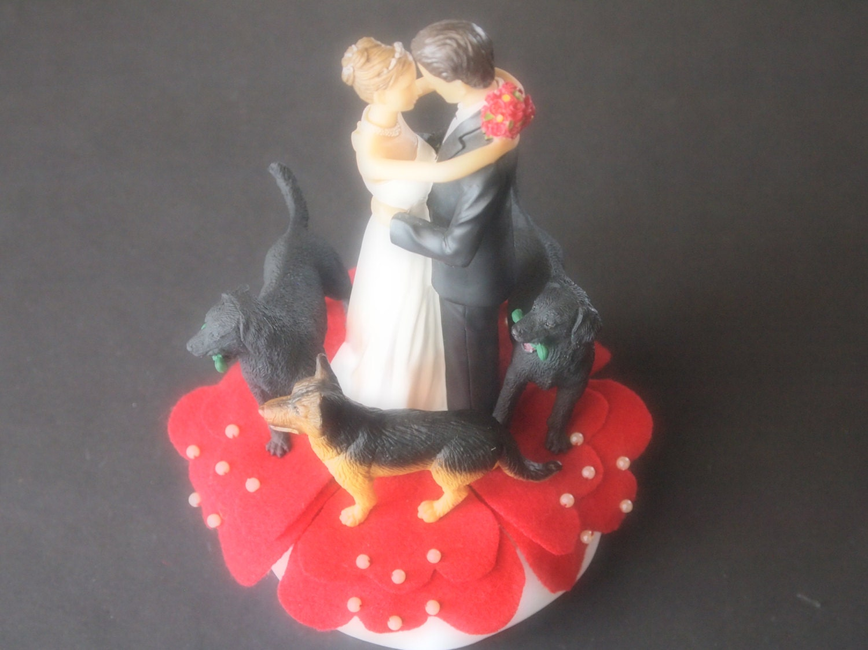 Cake Topper Wedding Red Bride Groom Dogs Black Lab German