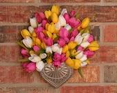 Spring Wreath- Spring Wall Pocket- Small- Fuchsia, Yellow, and White Tulip Heart Wall Pocket