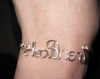 Wire Wrapped NAME Chain Bracelet MADE to Order