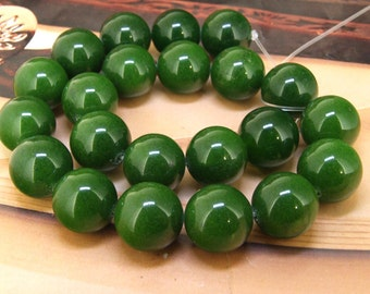 Strands Large  18mm green Oliven jade round bead Loose One strand Full Gemstone Beads