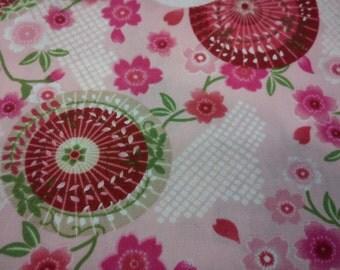 Japanese umbrellas and cherry blossom, pink, fat quarter, pure cotton fabric