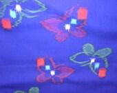 SALE  INDIGO BUTTERFLIES  Vintage Japanese Kimono Wool fabric woven Kasari pattern  15 x 72 inches