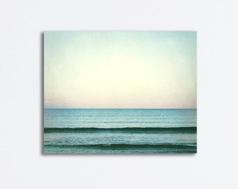 """Ocean Canvas Wrap - seascape sea waves large wall art beach blue mint green teal turquoise wall hanging, 24x30, 16x20, """"The Distant Horizon"""""""