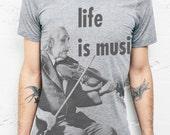 Albert Einstein TShirt - Life is Music Quote Men T Shirts S M L XL