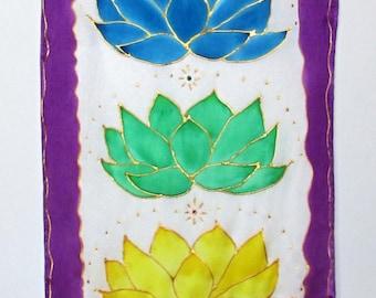 "Chakra wall art silk wallhanging spiritual gifts ""Crystal Lotus"" chakra art chakra wallhanging lotus tapestry yoga art reiki meditation art"