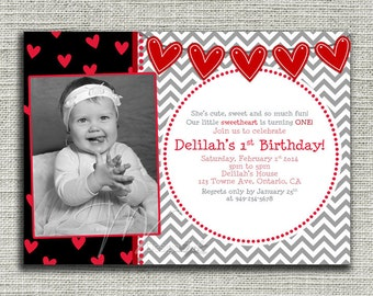Chevron Valentine's Birthday Invitations - Digital File You Print