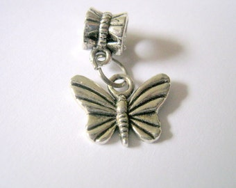 Clearance 7 Silver Tone Butterfly Dangle Charms (1151)