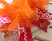 Over The Top bow for girls in hot pink and orange pumpkin theme -- hot pink and orange chevron with glitter pumpkin -- optional headband