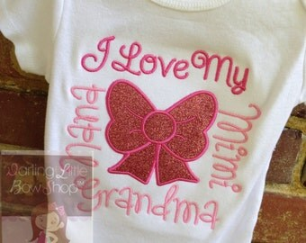 Baby Girl Gift -- I Love My... -- great baby shower gift - long or short sleeve - add three names of you choice