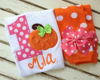 Baby Girl 1st Birthday Pumpkin Outfit -- This Pumpkin is 1 -- bodysuit and leg warmers in orange and hot pink polka dot