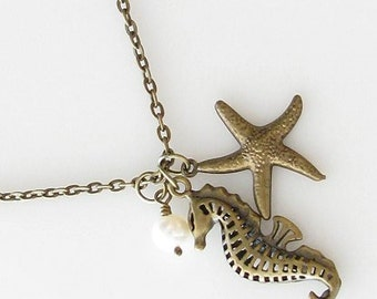 nautical jewelry, beach lover gift, seahorse starfish necklace, rustic wedding, bridesmaid gift, starfish jewelry ocean, beach necklace