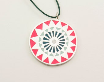 MANDALA sterling silver and polymer clay pendant in magenta, mint green, dark green and white