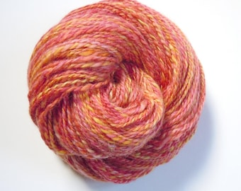Autumn Fire Baby Alpaca Naturally Dyed Brazilwood Madder Weld Handspun Yarn 105g