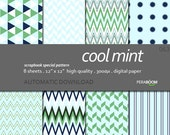 "Modern Digital Paper + cool mint - 063  + Scrapbook Quality Paper Pack  (12 x 12""- 300 dpi)   8 sheet pack paper + Instant Download"