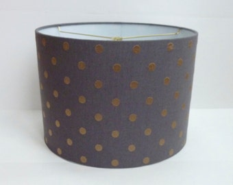Small Drum Lampshade - Gray Linen with Gold Embroidered Dots