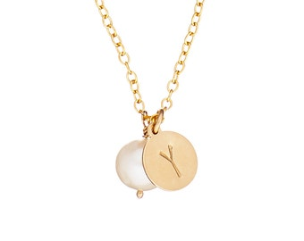 Initial Necklace with Hand Stamped Initial & Freshwater Pearl 14k Gold Fill *Free Shipping*