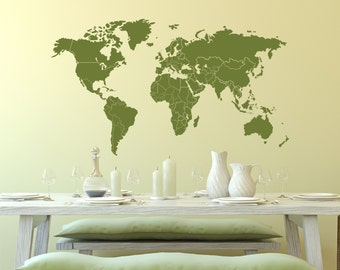Wall Decal World Map with Countries Borders Wall Vinyl Decal Sticker
