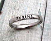 Personalized Ring - Mom Stacking Ring - Stainless Steel Ring - Stamped Ring - Small 3mm Ring - Silver Ring Personalized Stacking Ring (1002)