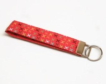 key fob key chain lanyard wristlet xxx red