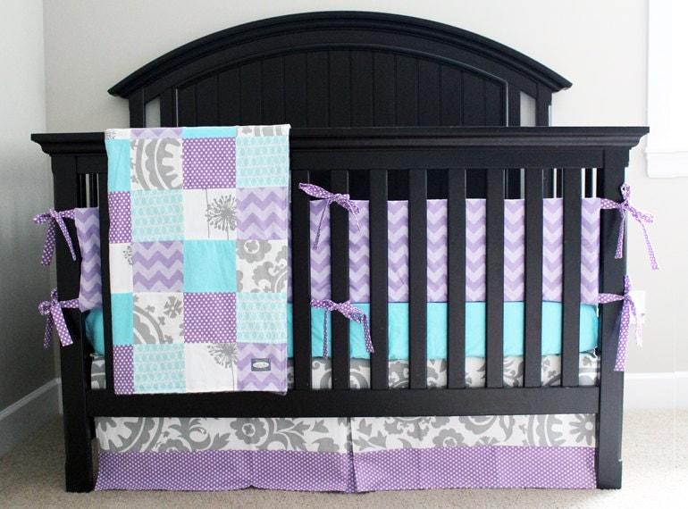 custom baby bedding aqua purple and grey crib bedding. Black Bedroom Furniture Sets. Home Design Ideas