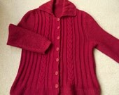 Hand knitted vintage burgundy wool cardigan M / L immaculate condition