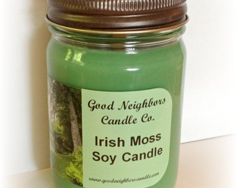 Soy Candle, Irish Moss, Green, 12 ounce, Fresh Scent, Daisy Cut Lid