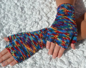 Hand-knitted fingerless women's gloves