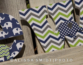 Custom Nursery Wooden Letters, Baby Boy Nursery - Elephant Theme Custom Letters - blue, navy, lime green, grey, gray, white