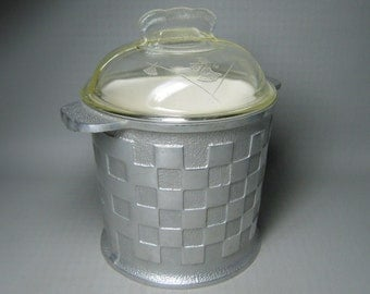 GUARDIAN ALUMINUM ice bucket , glass lid , white plastic liner