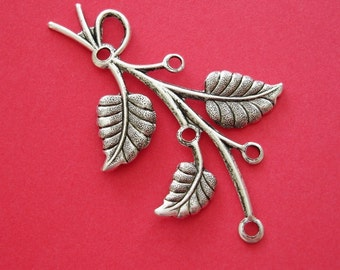 2-Branch  Leaf Embellishment  Antique Silver Ox  Brass  Stamping Pendant .