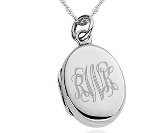 Monogram Locket, 925 Sterling Silver Necklace (can be personalized/engraved) monogrammed EY3