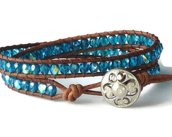 Beaded leather wrap bracelet, blue, brown leather, bohemian