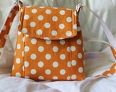 Mini Cross Body Messenger Bag made in Tangerine Polka dots with Adustable strap and Foxes inside