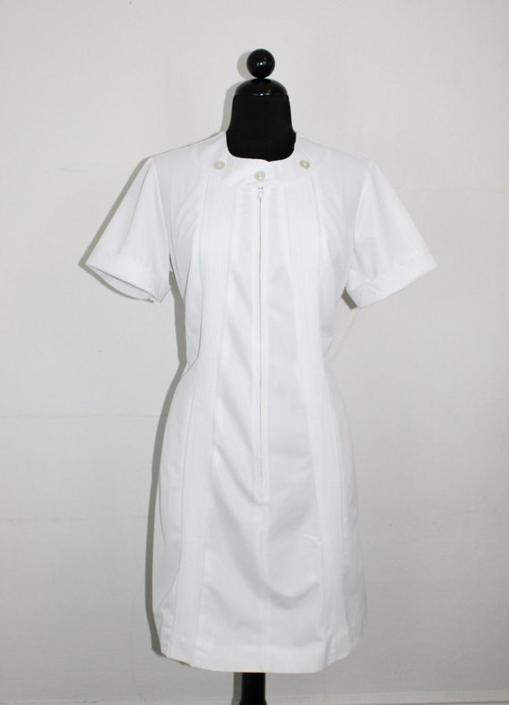 Vintage Nurse Dress 60s White Nurse Uniform By