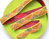"2"" Multi-Coloured Neon Yellow Base Aztec Print Stretch Elastic Band"