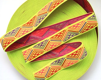 "2"" Multi-Coloured Neon Yellow Base Aztec Print Stretch Elastic Band"