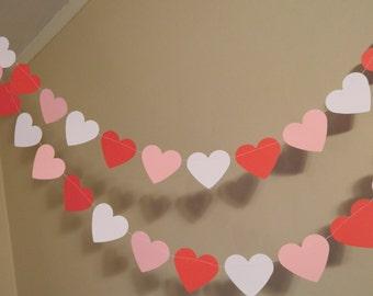 Valentines Day Decorations / Valentine Garland/6ft Red White and Pink Heart Garland /Wedding Decor / Valentine Photo Prop