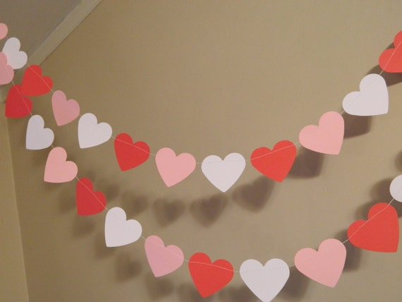 Valentines Day Decorations / Valentine Garland/6ft Red White and Pink Heart  Garland /Wedding