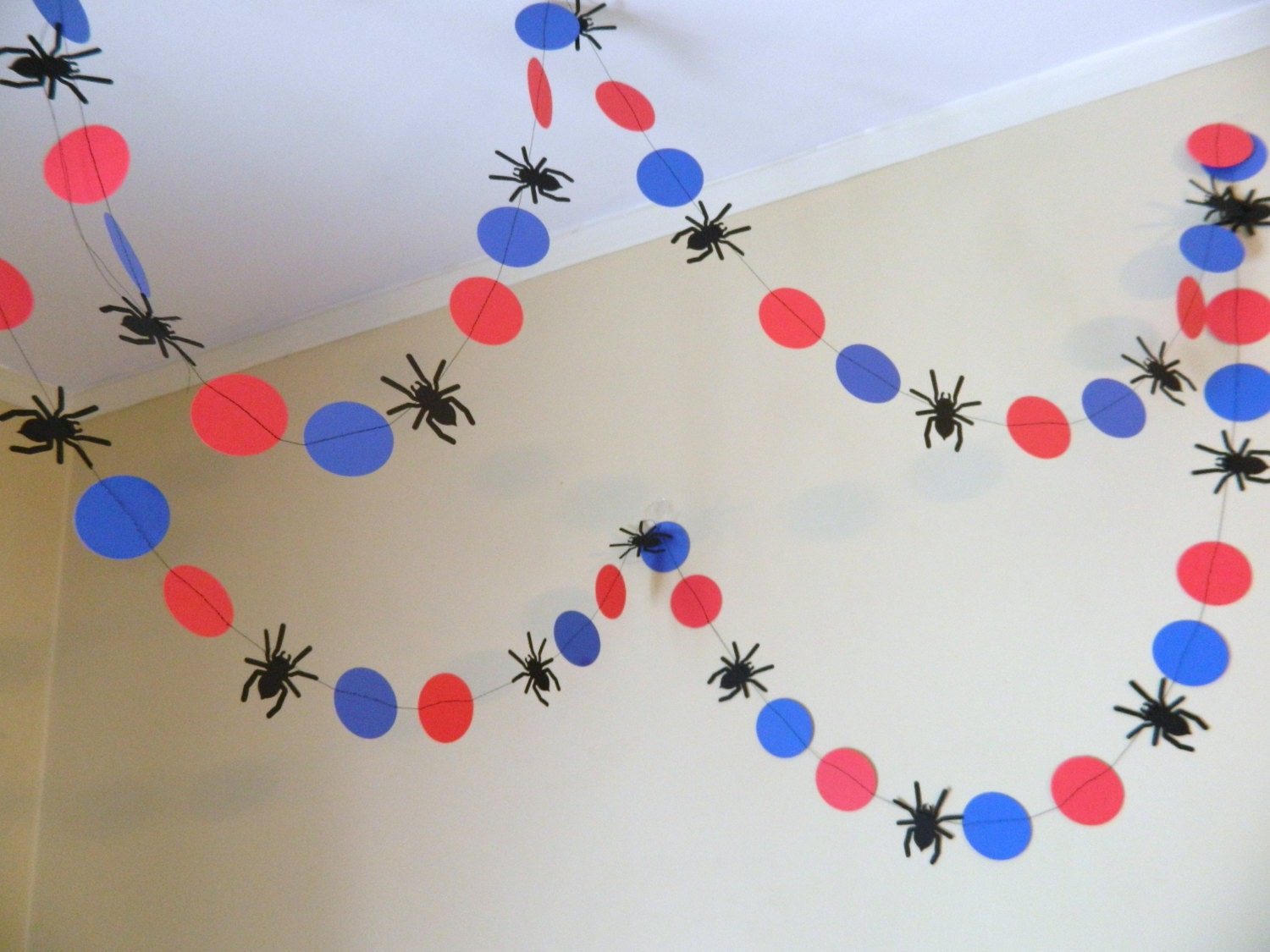 Spider garland spider banner spider birthday decoration for Spiderman decorations