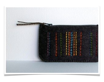 Felt Coin Purse Wallet ø Small Make Up Bag ø Hand Embroidered ø Licorice Black ø LoftFullOfGoodies